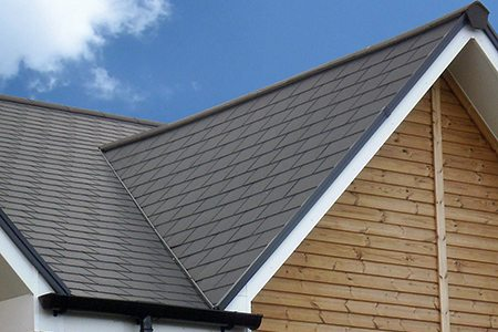 photo of angled roof