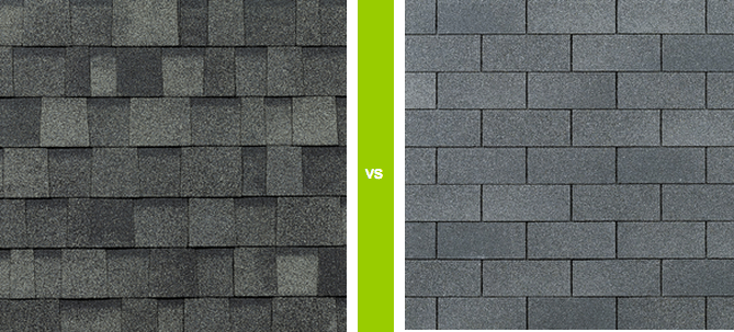 photo of architectural shingle and three tab shingle