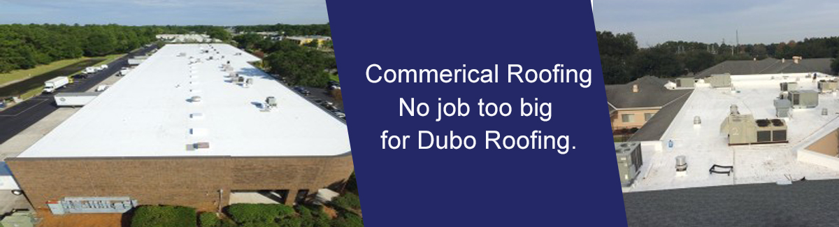 photo of roof with words Commercial Roofing
