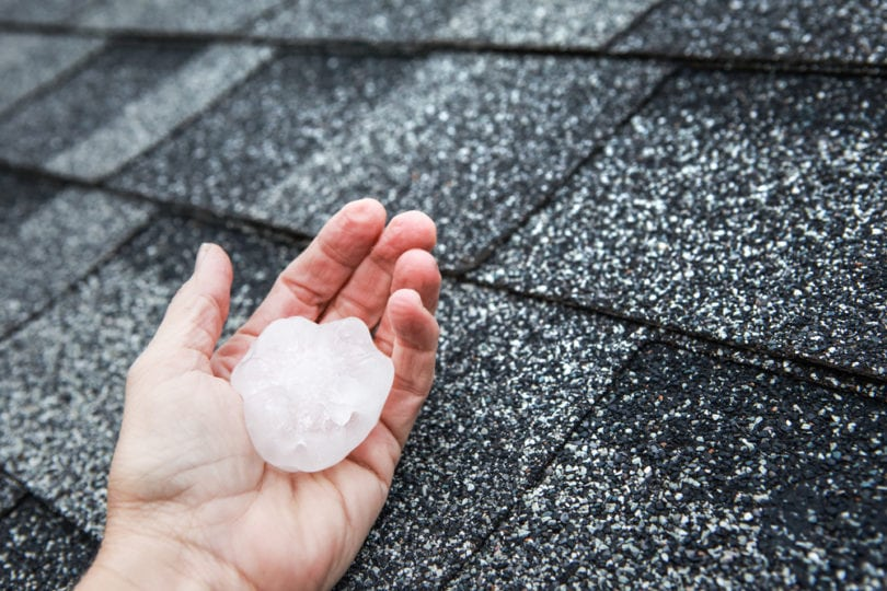 hand holding large hail stone in front of roof shingles