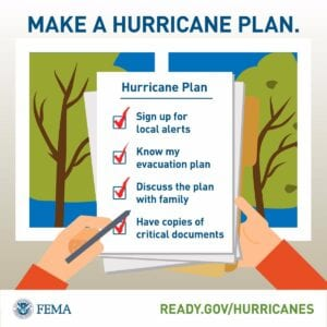 graphic showing list of things to do before a hurricane