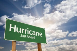 street sign that says Hurricane Just Ahead