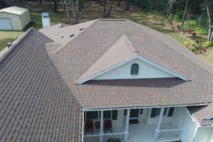 Shingle roof installed in Heather Blend color.